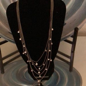 Silver tone Necklace with Crystals